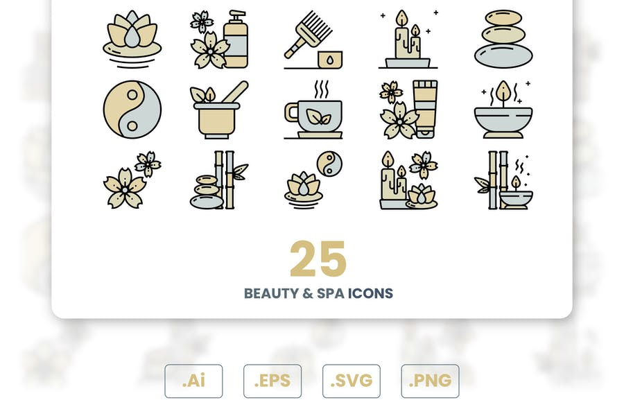 Colorful Beauty and Spa Icons Set
