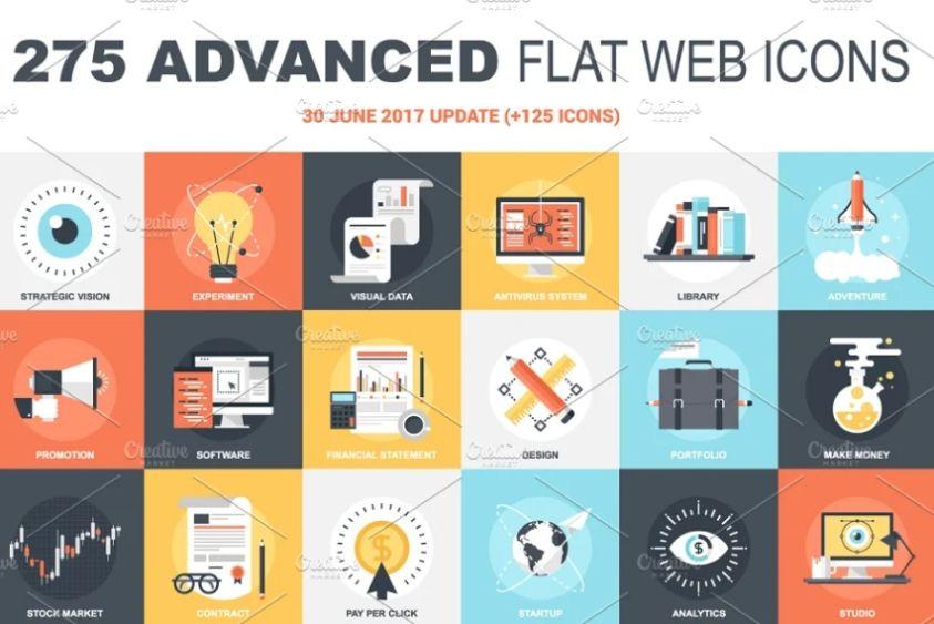 Creative Flat Web Icons Set