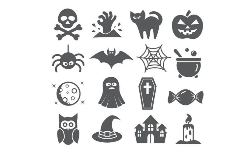Creative Hallween Icons Set