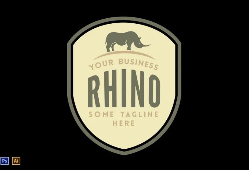 Crest Style Rhino Logo Template