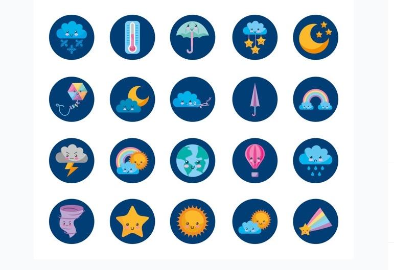 Cute Cartoon Style Icons