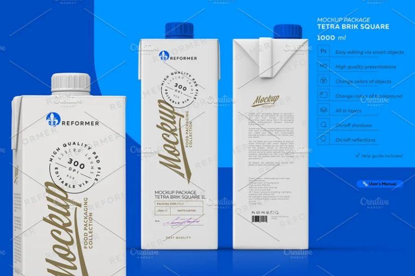 Dairy Packaging Mockup PSD