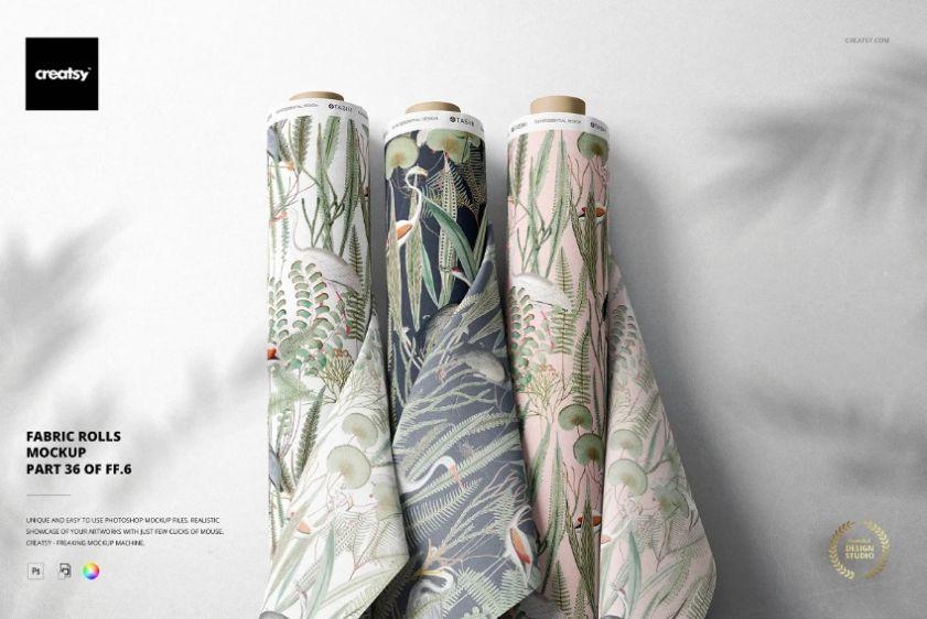 Editable Fabric Rolls Mockup PSD