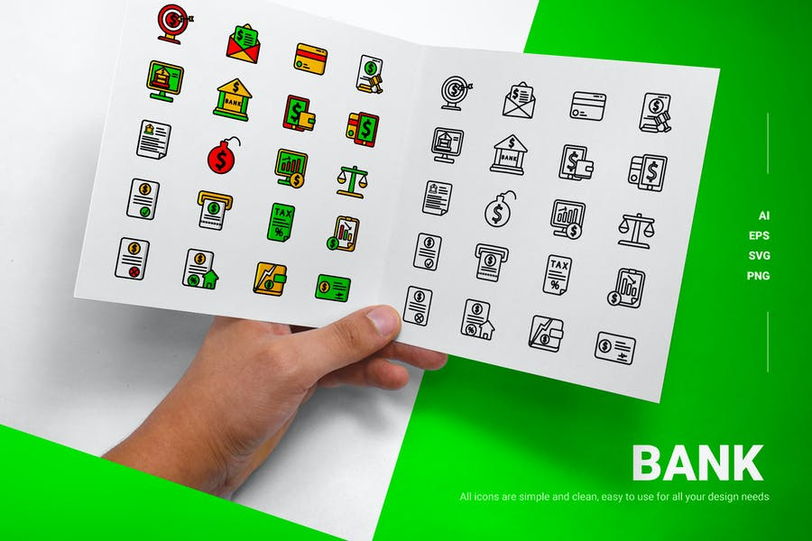 Filled and Outlined Bank Icons