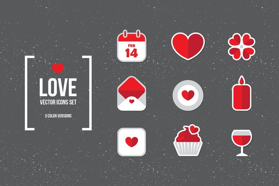 Flat Valentines Day Elements