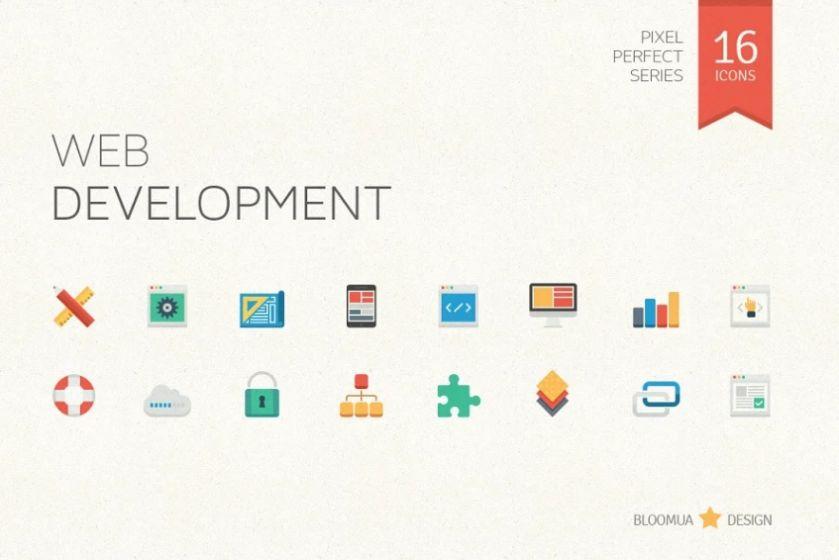 Flat Web Develoment Icons