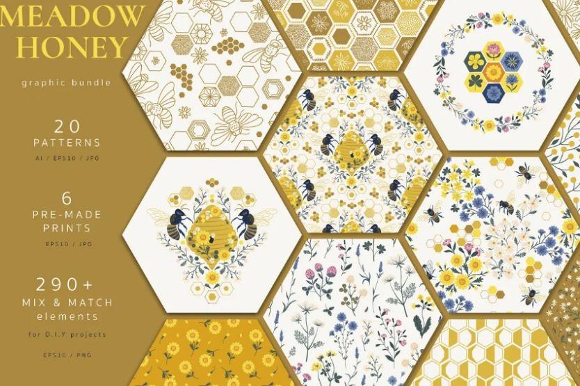 Floral Bee Pattern Design