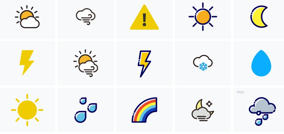 Free Simple Weather Icons Set