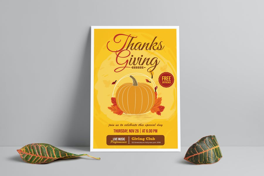 Fully Editable Thanksgining Day Poster
