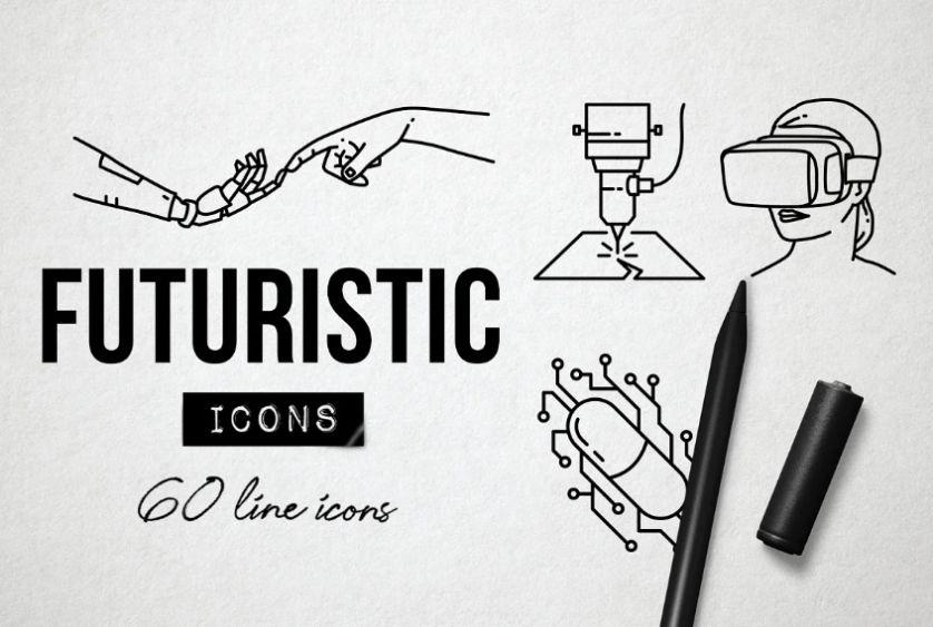 Futuristic Tech Icons Set