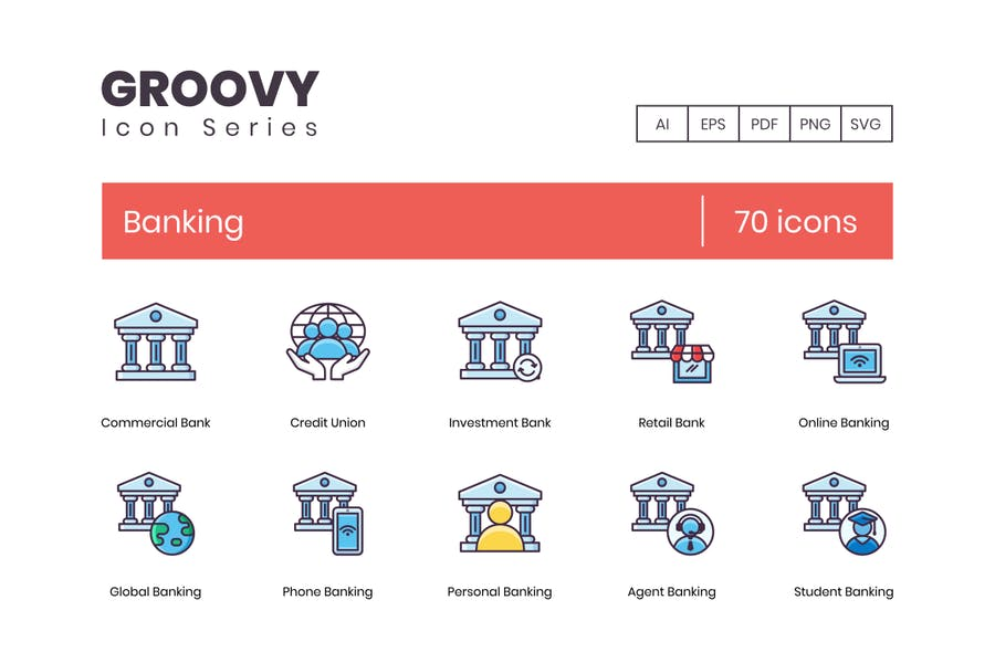 Groovy Style Banking Icons
