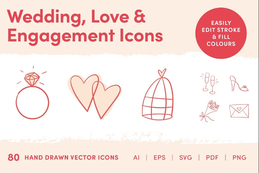 Hand Drawn Love and Engagement Icons