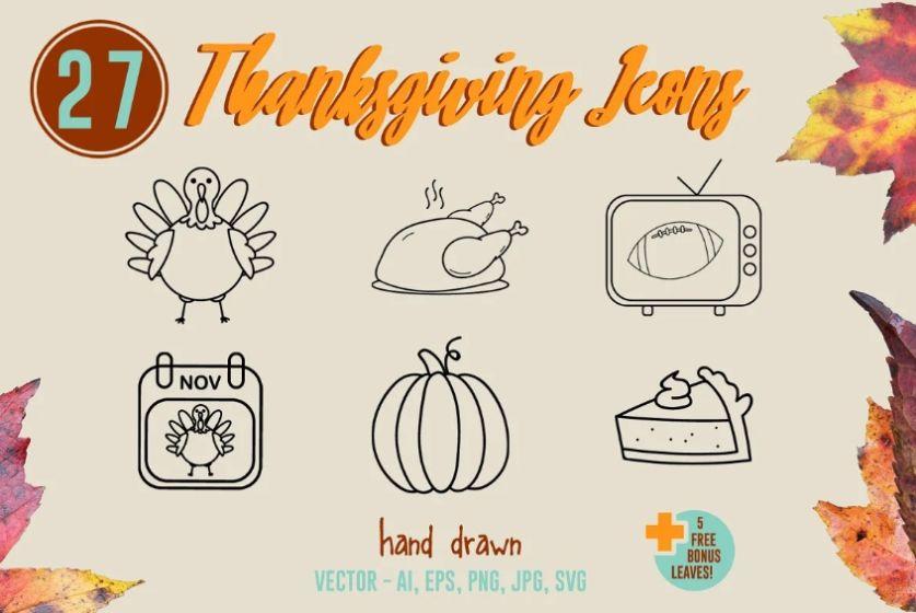 Hand Drawn Thanksgiving Vectors