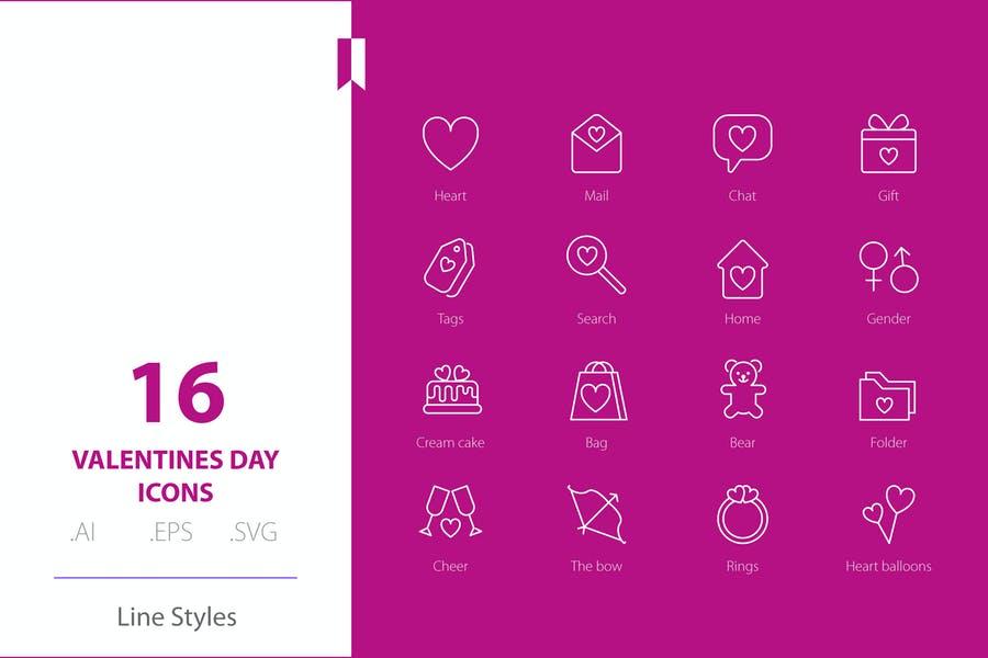 Line Style Valentines Day Icon Design