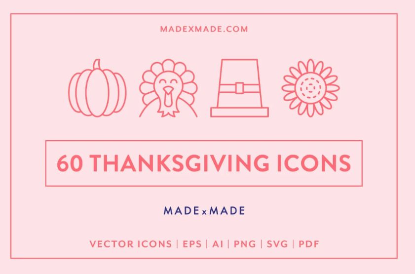Linear Style Thanksgiving Vector
