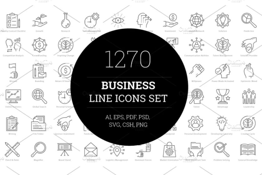 Lined Business Icons Set