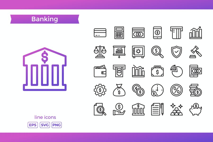 Lined Style banking Elements