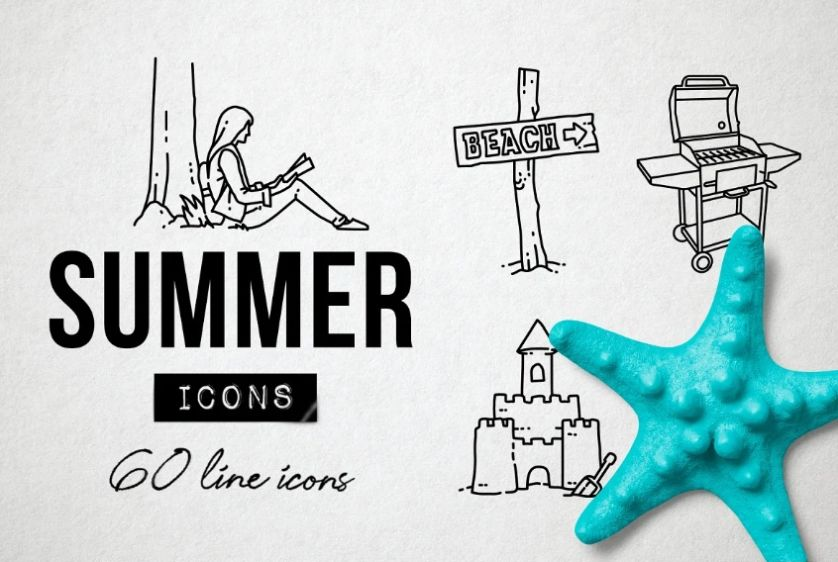 Lined Summer and Beach Icons Set