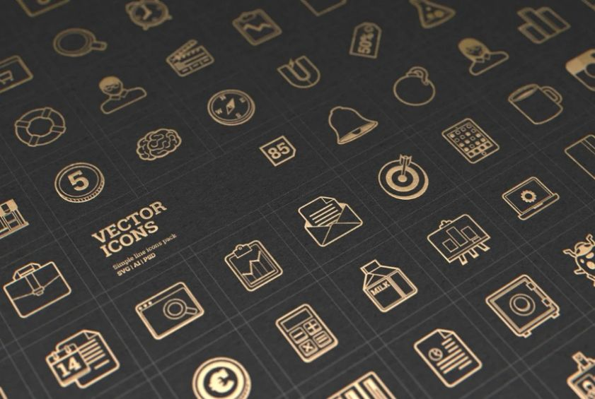 Lined Vector Icon Set