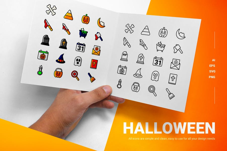 Lined and Solid Halloween Icons