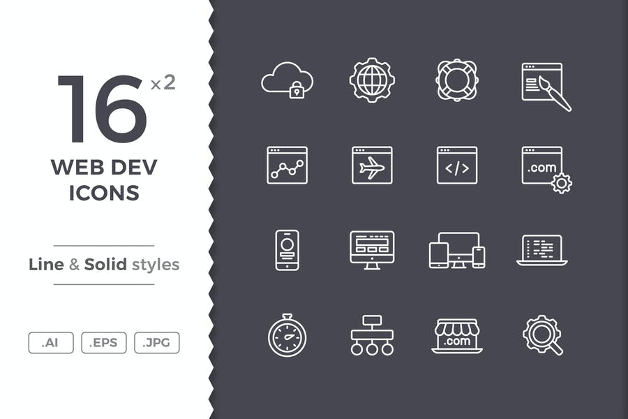 Lined and Solid Web Icons