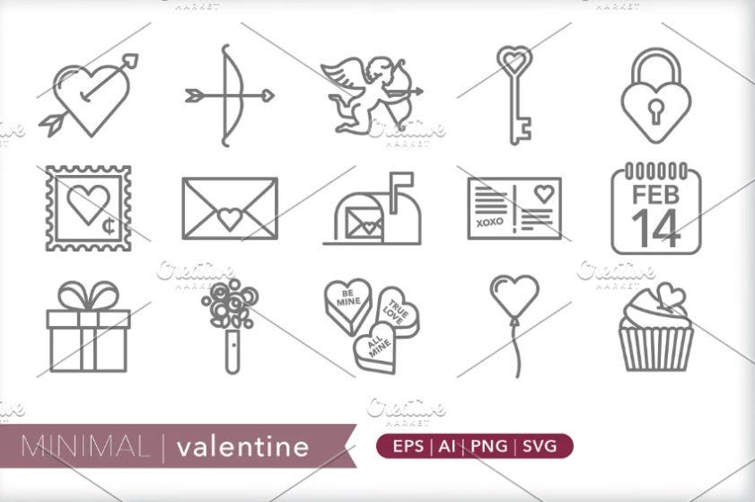 Minimal Valentine's Vector Icons
