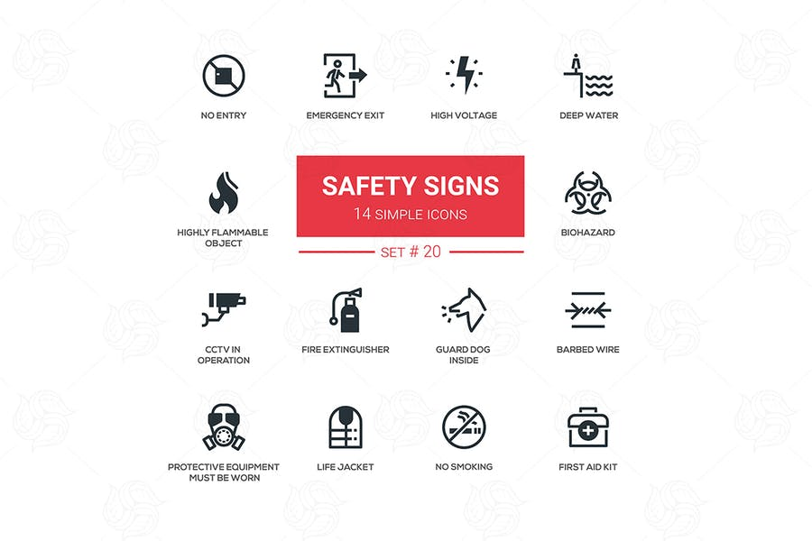 Modern and Simple Safety Signs