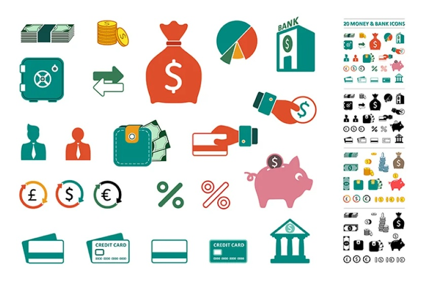 Money and Bank Illustrations