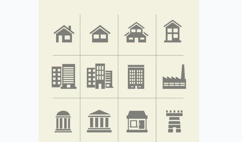 Monochrome Building Icons