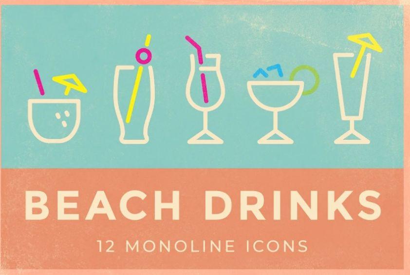 Monoline Beach Drinks Icon