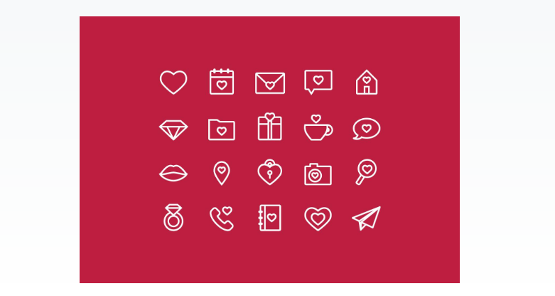 Outline Style Love Icons