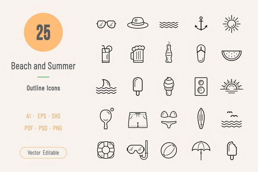Outline Summer and Beach Vectors