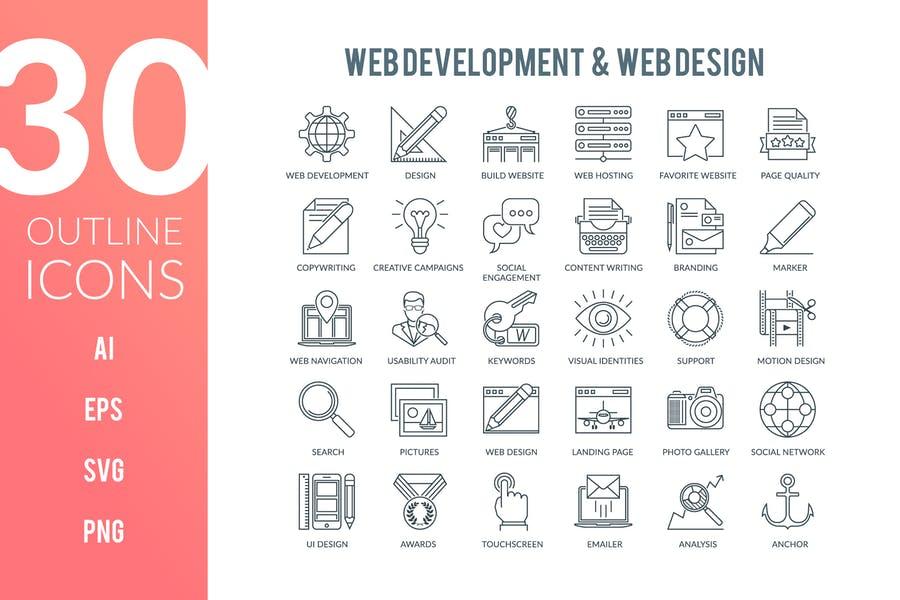 Outlined Web Development Vectors