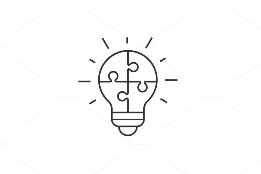 Puzzle Style Bulb Logo Template