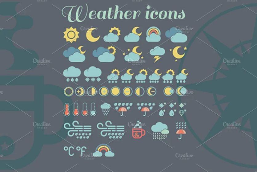 Rain and Snow Icons Set
