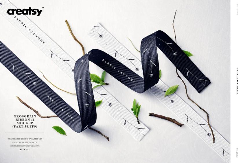Realistic Grosgrain Ribbon Mockup PSD