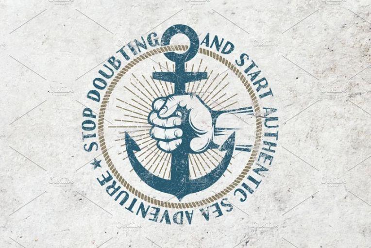 Retro Anchor Logo Template