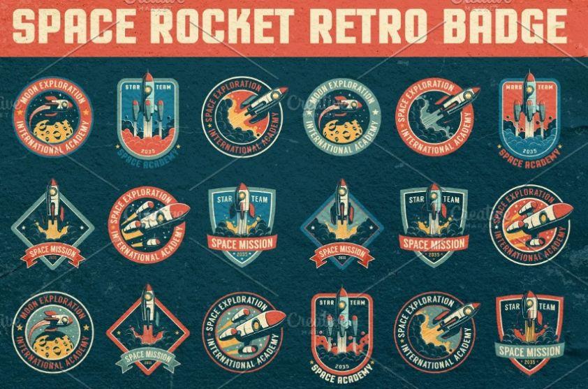 Retro Space Roclet Badges