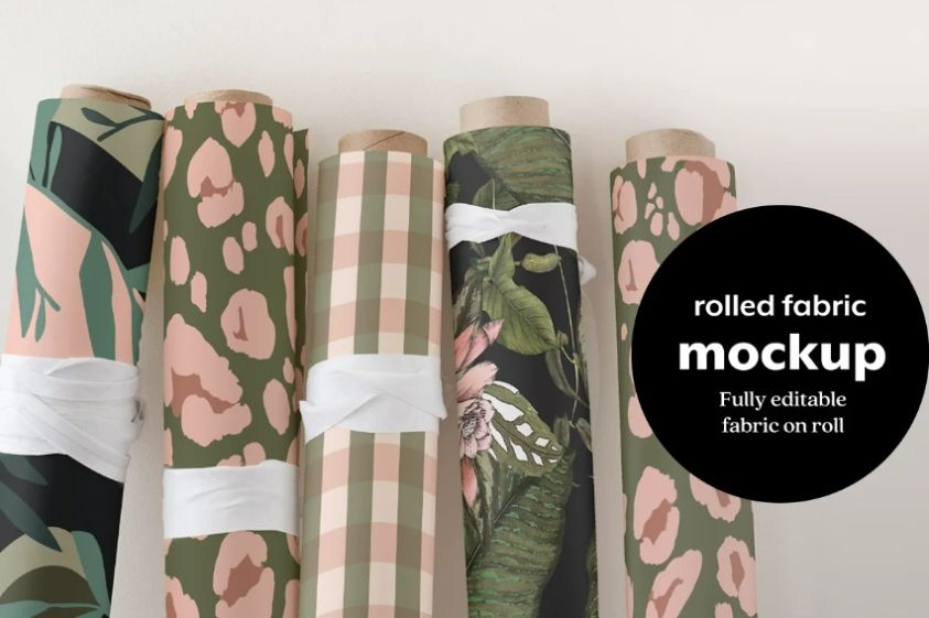 Rolled Fabric Mockup PSD
