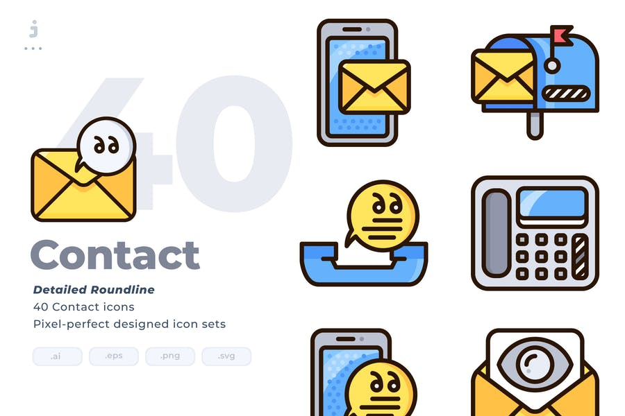 Roundlined Contact Vector Icons