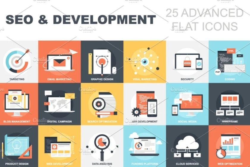 SEO and Development Flat Icons