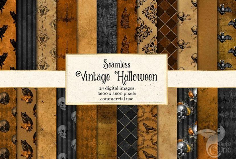 Seamless Vintage Halloween Digital Papers