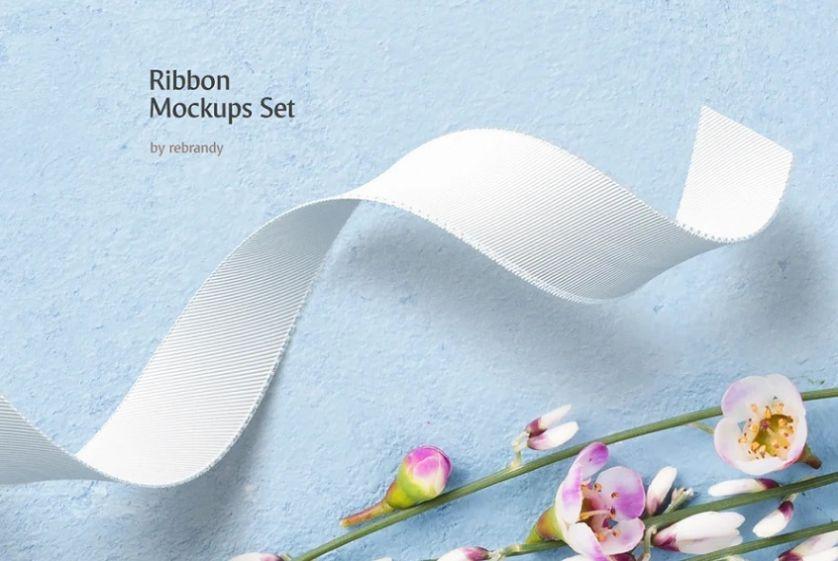 Simple Silk Ribbon Mockup PSD