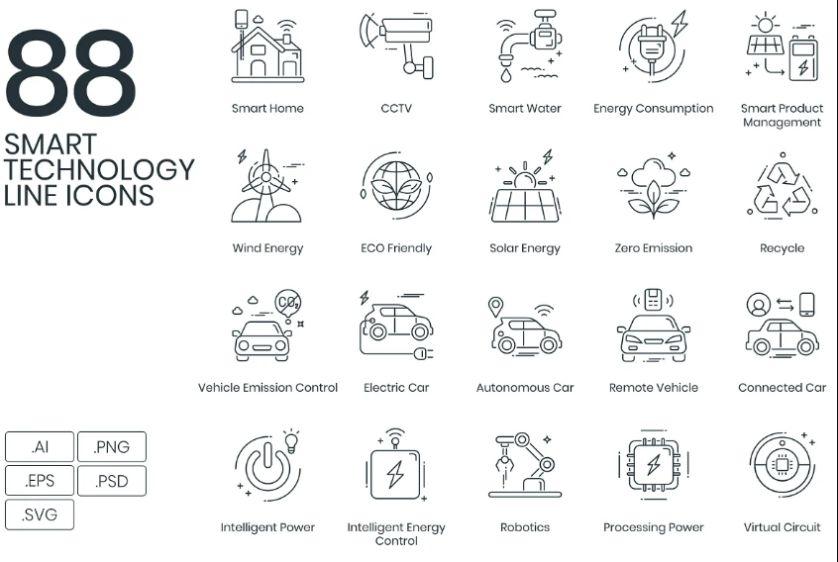 Smart Technology Icons Set