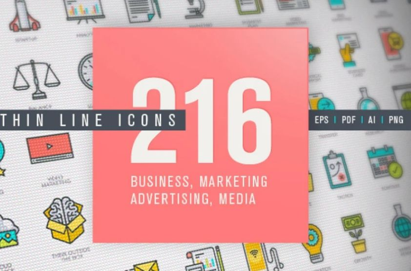 Thin Lined Business and Marketing Icons
