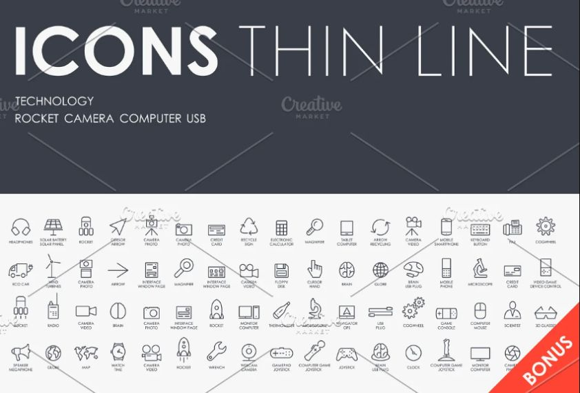 Thin Lined Technology Vectors