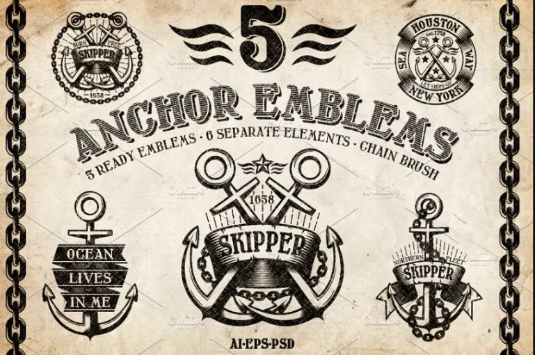 Vintage Anchor Logo Design Set