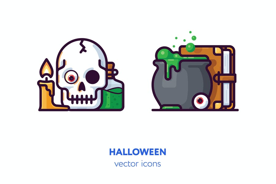 Watercolor Style Halloween Elements