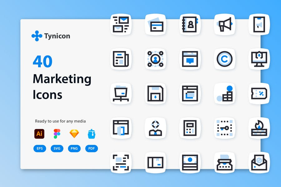 Watercolor Style Marketing Icons